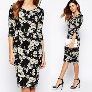 ASOS Vero Moda Black Floral Midi Dress Size XS